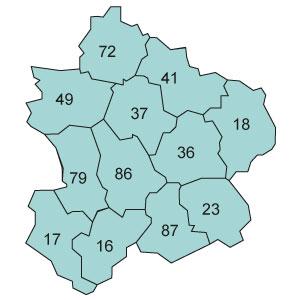 départements 17 - 36 - 37 - 41 - 49 - 72 - 79 - 86