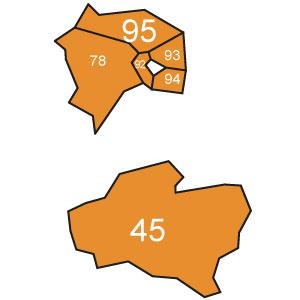 départements 78 - 92 - 93 - 94