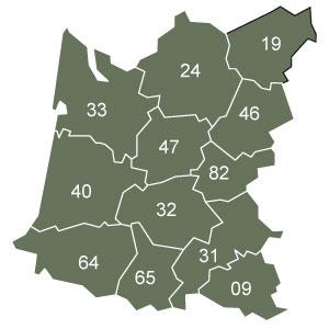 départements 09 - 31 - 32 - 33 - 40 - 47 - 64 - 65 - 82