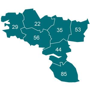 départements 22 - 29 - 35 - 44 - 53 - 56 - 85