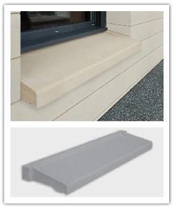 Vensterbanken  vereenvoudigde installatie - zandkleur en grijs - in Namaak Natuursteen