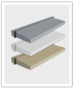 Vensterbanken 39 vereenvoudigde installatie -  zandkleur, grijs en blanco - in Namaak Natuursteen
