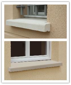 Appuis de fenêtre Nez arrondis Finition Classique - blanc cassé et ton pierre - en pierre reconstituée