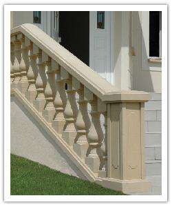 Balustrade Classique Villandry sur escalier - Ton pierre - en pierre reconstituée