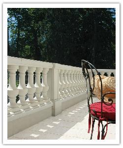 Balustrade Royan avec trumeau classique - Blanc cassé - en pierre reconstituée 2 - CP 0/32