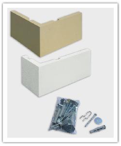 Chaînes d'angles 39 x 39 et 49.5 x 24 - ton pierre et blanc cassé - en pierre reconstituée et Kit de fixation