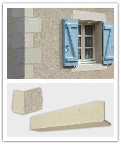 Chaînes d'angles et Linteaux Tradition - blanc et champagne - en pierre reconstituée