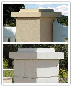 Chapeaux de pilier plat Double couronnement - Ton pierre et Blanc cassé - en pierre reconstituée