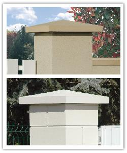 Weathered pillar caps - bathstone and off-white - in reconstructed stone