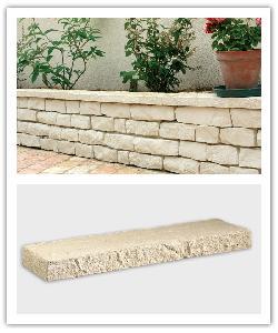 Chaperon de mur Garrigue Aspect pierre sèche - Crème - en pierre reconstituée