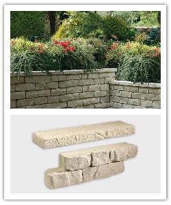 Garrigue drystone walling - wall blocks and wall coping - champagne - in reconstructed stone