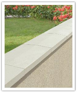 Optipose weathered interlocking wall copings - off-white - in reconstructed stone