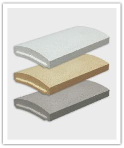 Optipose rounded interlocking wall copings - off-white, bathstone and grey - in reconstructed stone