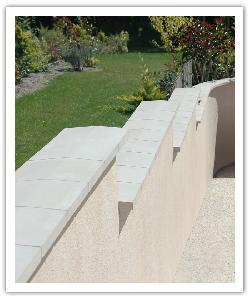 Chaperons de murs, Couvre-Mur  2 pentes - Blanc cassé - en pierre reconstituée