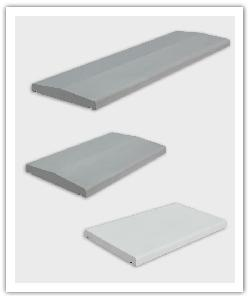 Muurdekstenen glad werp 1 m, 0,5 m, 2 hellingen en platte - grijs en wit - Namaak Natuursteen