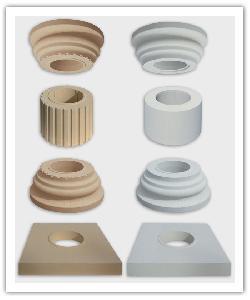 Chapiteaux, éléments de fût, bases et embases des colonnes cannelées et lisses - ton pierre et blanc cassé - en pierre reconstituée