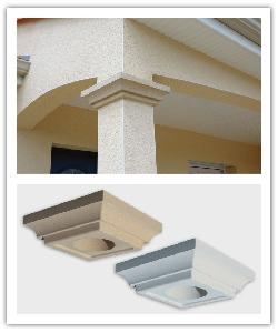 Square capitals - bathstone and off-white - in reconstructed stone