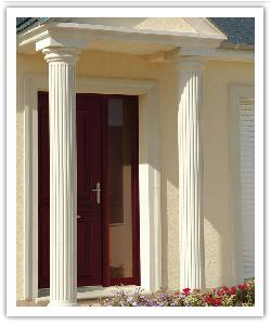 Fluted columns under portico - bathstone - in reconstructed stone