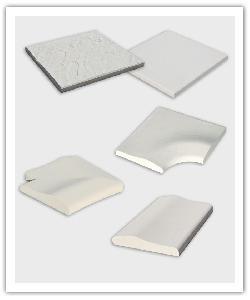 Dalle structurée et dalle lisse, Angle R15, Angle pour escalier roman, Margelle droite Déco - blanc cassé - en pierre reconstituée
