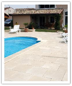 Tegels en Zwembadboordsteen Bergerac - champagne - in Namaak Natuursteen
