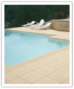 Deco paving and pool copings - buff - in reconstructed stone