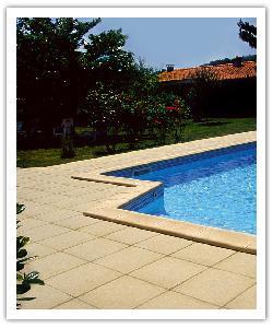 Tegels en Zwembadboordsteen Fouras - zandkleur - in Namaak Natuursteen