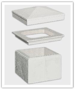 élément de pilier, Chapiteau et Chapeau Amboise avec feuille de matériau compressible - Blanc - en pierre reconstituée
