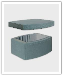 Ovalis Design pillar block and cap - pearly grey - in reconstructed stone