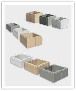 Elementen pilaar  aspect gebeitelde glade PR25, PD32, PECO and PR38  - gebroken wit, zandkleur en grijs - Namaak Natuursteen