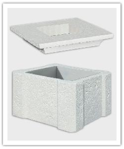 élément intermédiaire de pilier avec feuille de materiau compressible et Chapeau Chambord - Blanc - en pierre reconstituée
