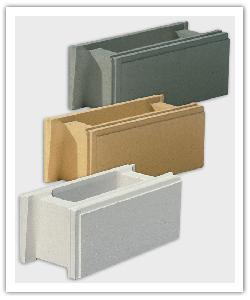 Smooth finish wall blocks - off-white, bathstone and grey - in reconstructed stone