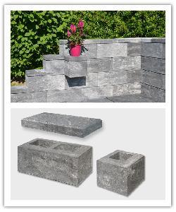 Eléments de muret module box - cendré - en pierre reconstituée