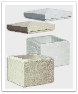éléments de pilier Chaumont - Champagne, Blanc, Gris - et Chapeau Chaumont Champagne en pierre reconstituée