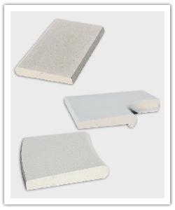 Margelle droite plate, Angle R15 à becquet, Margelle courbe R150 plate Périgord - blanc cassé - en pierre reconstituée