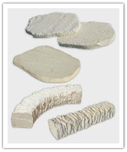 Florac stepping stone, large stepping stone, curve and straight edging - champagne - in reconstructed stone