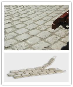 Pavés de terrasse Chinon - champagne - en pierre reconstituée 1