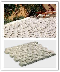 Pavés de terrasse Saumur - champagne - en pierre reconstituée
