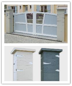 Piiers de clôture Ondea - Blanc cassé - en pierre reconstituée