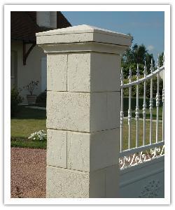 Pilier de clôture Amboise - Champagne - en pierre reconstituée