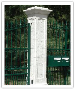 Pilier de clôture Chambord - Blanc - en pierre reconstituée - 2
