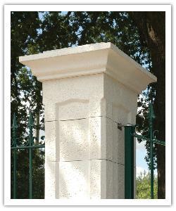 Pilier de clôture Chambord - Blanc - en pierre reconstituée
