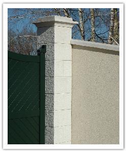 Pilier de clôture Cheverny - Blanc - en pierre reconstituée