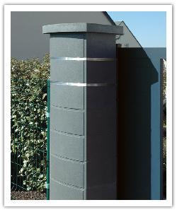 Pilier de clôture contemporain Ovalis Design - Gris nacré - en pierre reconstituée 2