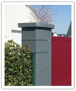 Pilier de clôture contemporain Ovalis Design - Gris nacré - en pierre reconstituée