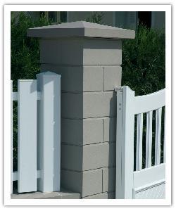 Pilier de clôture Lisse PR38 - Gris - en pierre reconstituée