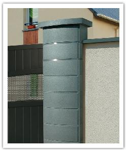 Ovalis Design fence pillar - pearly grey - in reconstructed stone