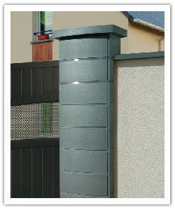 Pilier de clôture Ovalis Design - Gris nacré - en pierre reconstituée
