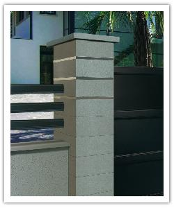Steel'in fence pillar - pearly grey - in reconstructed stone