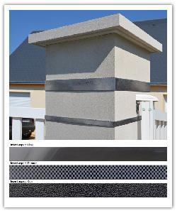 Pilier Platinum Blanc cassé - 1 insert inox aspect cuir de 5 cm + 1 insert inox aspect cuir de 2 cm