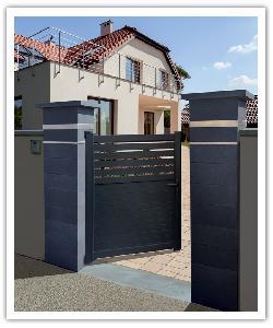 Pilier Platinum Dark - 1 insert inox aspect cuir de 5 cm + 1 insert inox aspect cuir de 2 cm